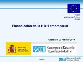 Financiación de la I+D+i empresarial, CDTI, (Presentación)