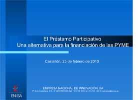 El Préstamo participativo, ENISA (Presentación)