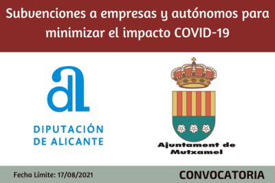Subvenciones a empresas y autónomos para minimizar el impacto COVID-19 - Ayuntamiento de Mutxamel