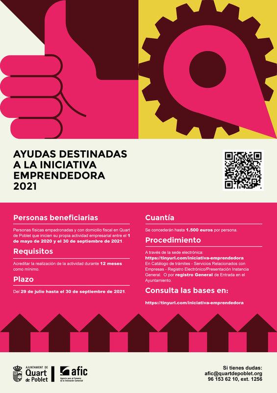 Ayudas a la iniciativa emprendedora 2021 en Quart de Poblet