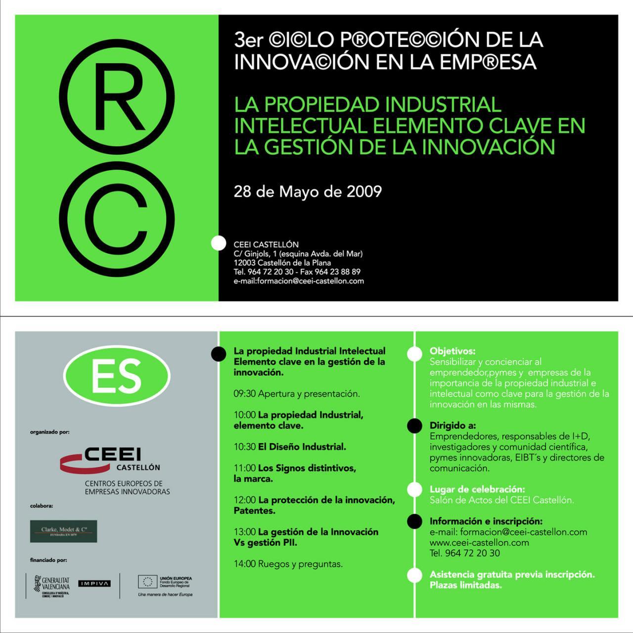 El CEEI Castellón organiza el 3er Ciclo de Protección de la Innovación en la empresa