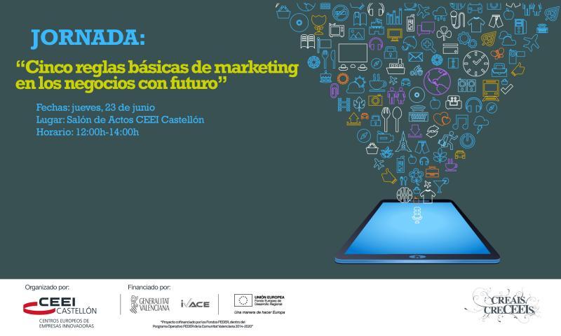 """Invitaci�n Jornada: """"Cinco reglas b�sicas de marketing en los negocios con futuro"""" jueves 23"""