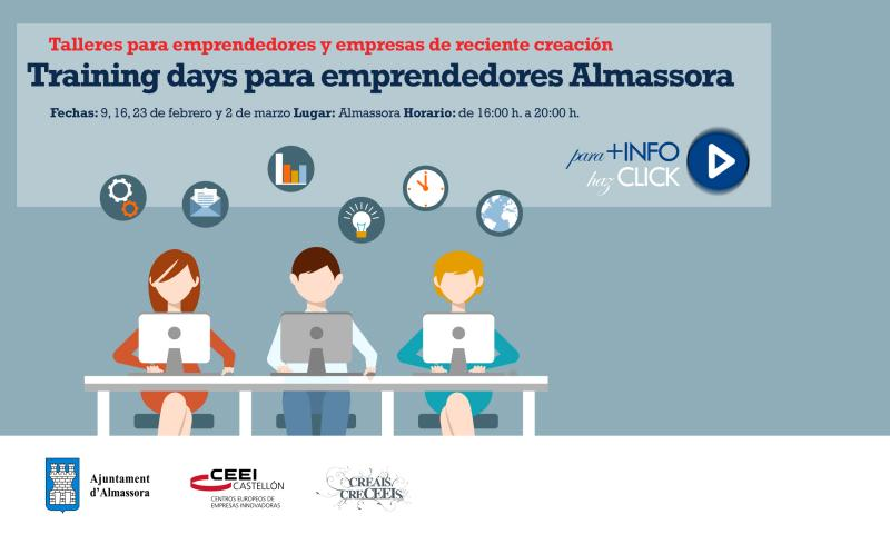 Recordatorio: Training days de emprendedores y empresas de reciente creación en Almassora
