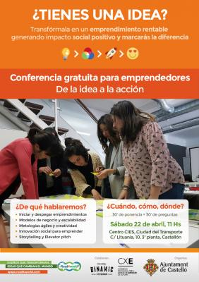 "Conferencia gratuita ""De la idea al emprendimiento social"" Road4world"