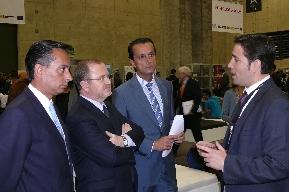 El presidente y el director del CEEI Castellón,  Basco y Castells, en el Día de la Persona Emprendedora con el  Conseller de Educación, Font de Mora y el Director General de IMPIVA, Moragues.