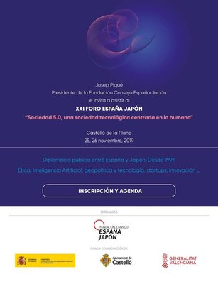 """XXI Foro  España-Japón  """"Sociedad 5.0, una sociedad tecnológica centrada en lo humano""""."""