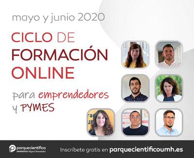 El Parque Científico de la UMH ha lanzado para los meses de mayo y junio un nuevo ciclo de formación online con contenidos exclusivos sobre diseño gráfico, tesorería, desarrollo web y optimización de
