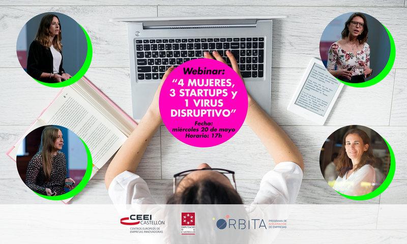 """Recordatorio Invitación webinar: """"4 Mujeres , 3 startups y 1 virus disruptivo"""""""