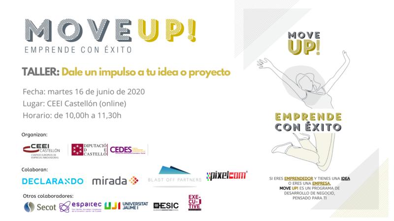 """Recordatorio invitación taller: """"Dale un impulso a tu idea o proyecto"""""""