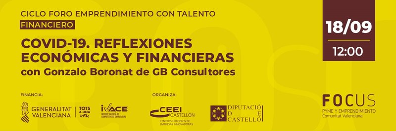 """Recordatorio Invitación : """"COVID-19. Reflexiones económicas y financieras"""" 18/09"""