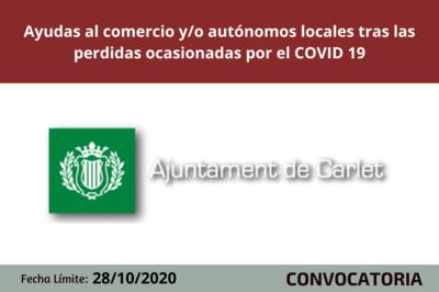 Ayuntamiento de Carlet concede ayudas al comercio y/o autónomos locales tras las perdidas ocasionadas por el COVID 19