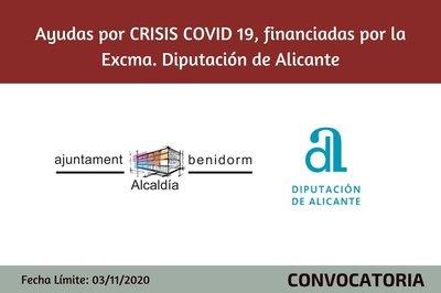 Ayudas Ayto Benidorm por CRISIS COVID19,  financiadas por la Excma. Diputación de Alicante