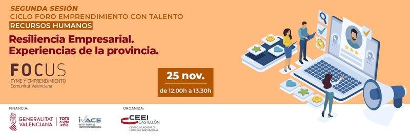 """Invitación """"Resiliencia Empresarial. Experiencias de la provincia""""  25 de noviembre"""
