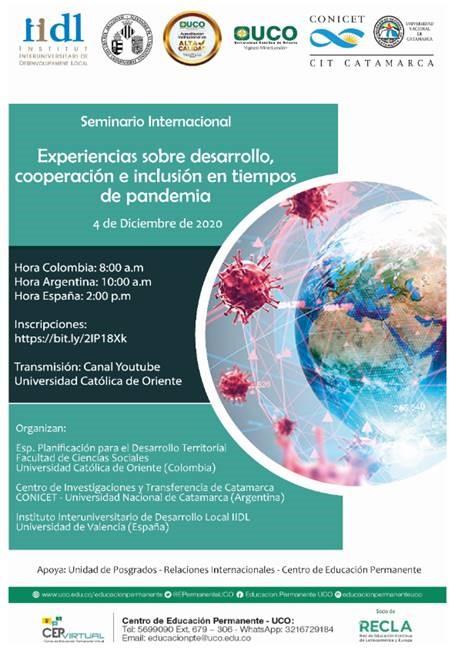 Seminario internacional | Experiencias sobre desarrollo, cooperación e inclusión en tiempos de pandemia